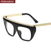 Peekaboo Latest Black Gold Chain Glasses Frames For Men Styles Cool Male Vintage Spectacle Frames Women