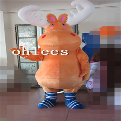 Ohlees orange deer Mascot Costume Halloween Christmas party Props Costumes For Adult cartoon animal customize