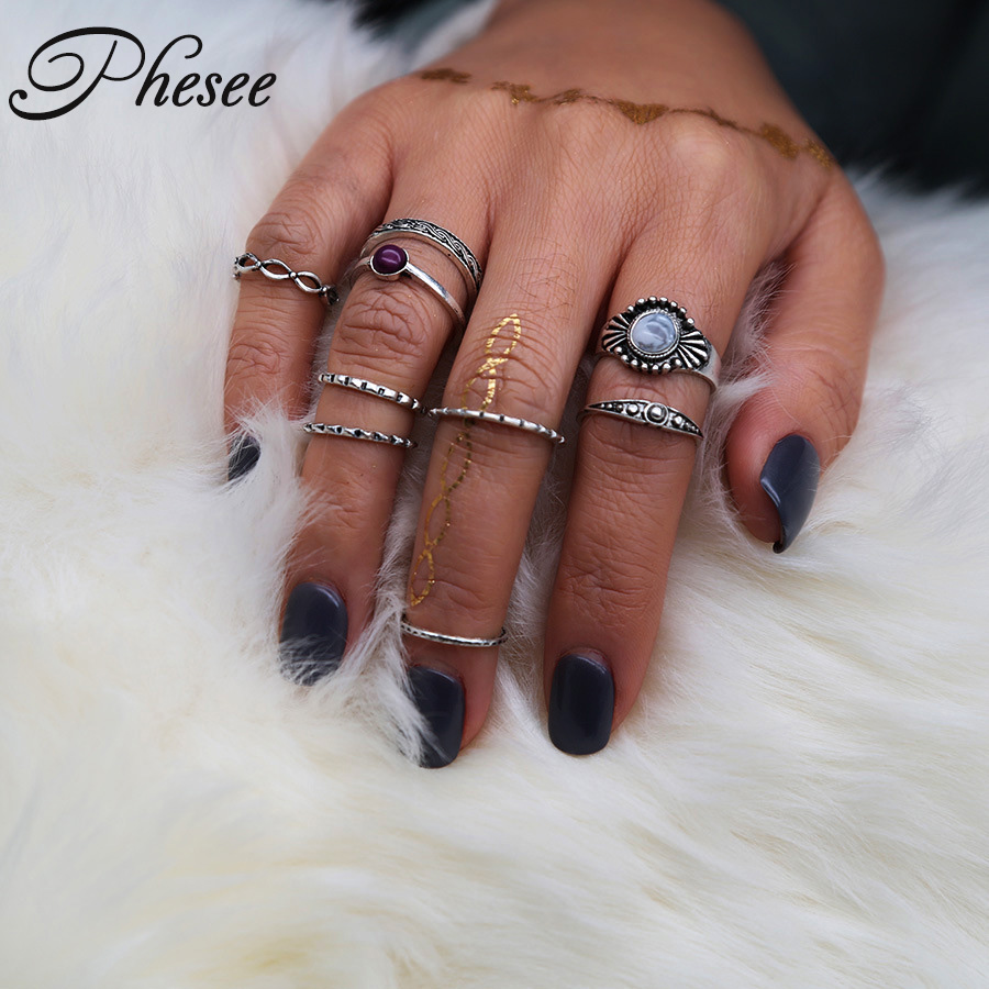 Phesee 9pcs/Set Midi Ring Sets for Women Antique Silver Color Boho Beach Vintage Turkish Punk Cross Knuckle Ring Jewelry