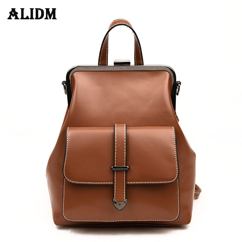 Detail Feedback Questions about Brand Frame Small Leather Backpack Women  High Quality Belt Backpacks For Teenage Girls School Bags Fashion Female  Backpack ... 88265f9638464