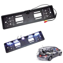 DEDC Universal HD Car Rear View Backup Reverse Camera European License Plate Frame Night Vision with LED (Size: 1 Pcs)