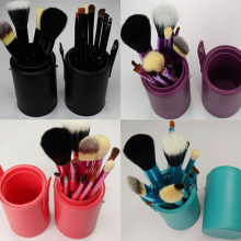 Professional New  5 Colors 12pcs Makeup Brushes Cosmetic Make Up brush Set  with Cup Holder Case kit, Free Drop shipping