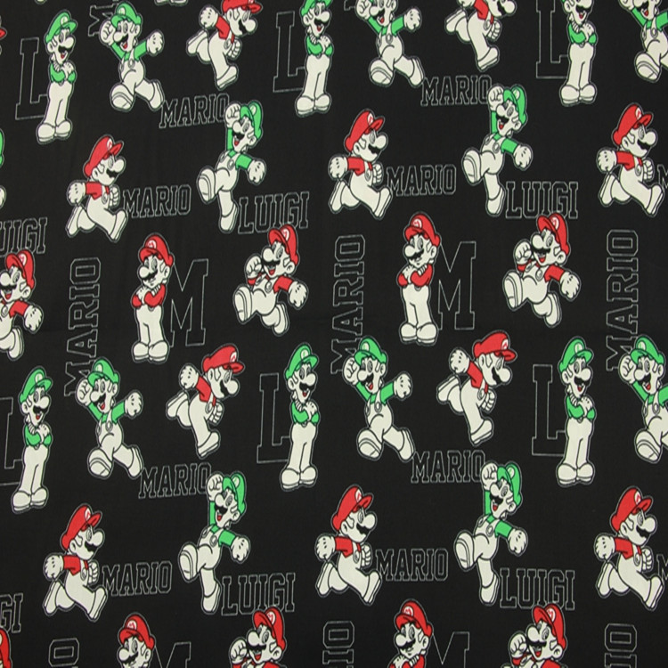 140cm Width Mario Dog Print Black Cotton Fabric For Boy Clothes Cushion Covers Hometextile Bedding Set Bags DIY-BK496
