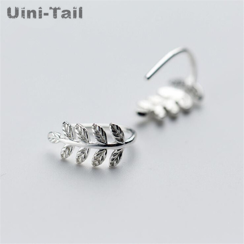 Uini-Tail hot new 925 sterling silver branches leaves earrings female simple small fresh mini tree technology ear hook  ED223