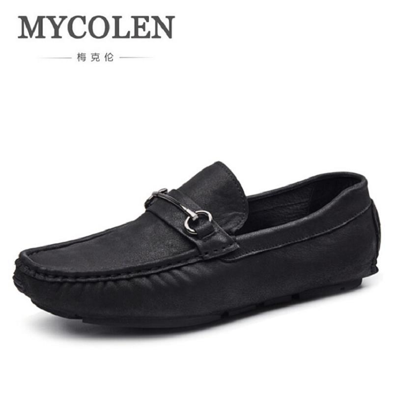 MYCOLEN British Style Mens Driving Shoes Luxury Brand Loafers Designer Boat Shoes Men Autumn Fashion Black Casual Shoes mycolen men loafers leather genuine luxury designer slip on mens shoes black italian brand dress loafers moccasins mens