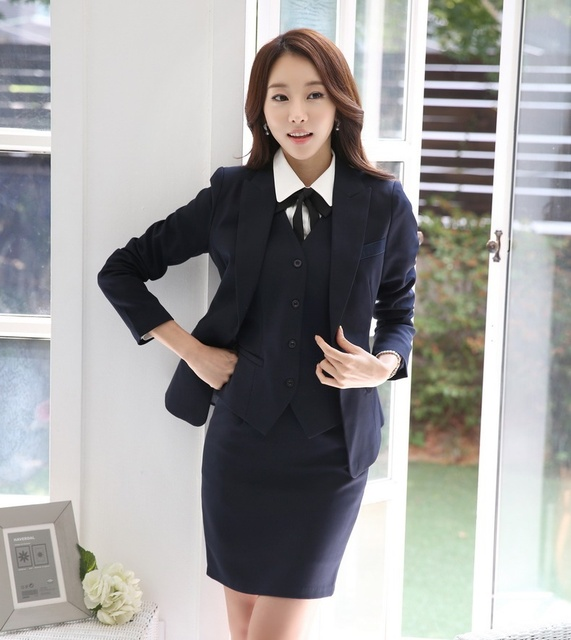 Autumn and Winter Formal Ladies Blazer Women Business Suits with Skirt + Jacket + Vest Sets OL Office Uniform Style