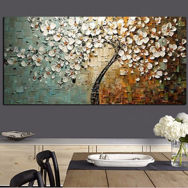 Handmade Modern Flower Tree Landscape Handpainted Abstract Oil painting palette Knife Oil Painting Wall Picture for Living Room