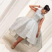 Sparkle Muslim Evening Dresses 2019 Ball Gown Sequins Hi Low Tea Length Islamic Dubai Saudi Arabic Long Formal Evening Gown