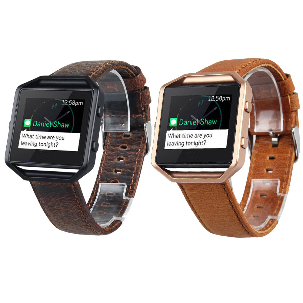 Hot sale New Desgin 2018 Watchbands Brown Retro PU leather Watch Bracelet Strap Band For Fitbit Blaze Smart Watch Straps