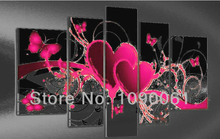 Hand Painted Abstract Heart Paintings Butterfly Decoration Modern 5 ...
