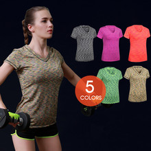 New Professional Women Quick-drying Short-sleeve Tight T-Shirt Anti-UV Fitness Tops CoatS Breathable Bodybuilding Sportswears041