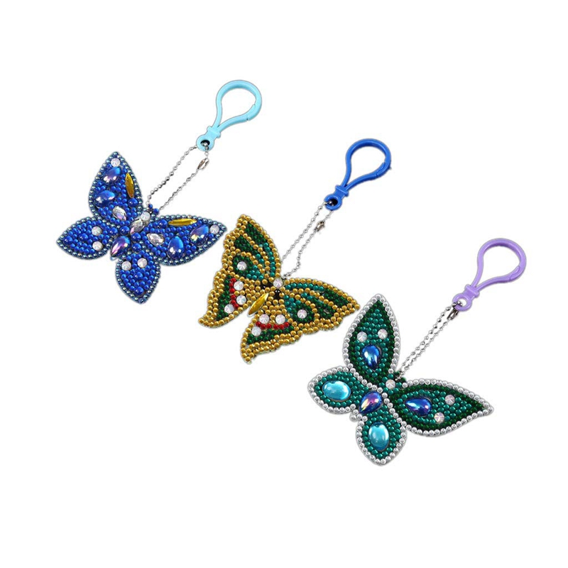 New Gift! Set Of 5 Diamond Painting Keychain, 5D Making Diy Full Drill Special Shape Diamond Painting Beauty Doll Keychain Key