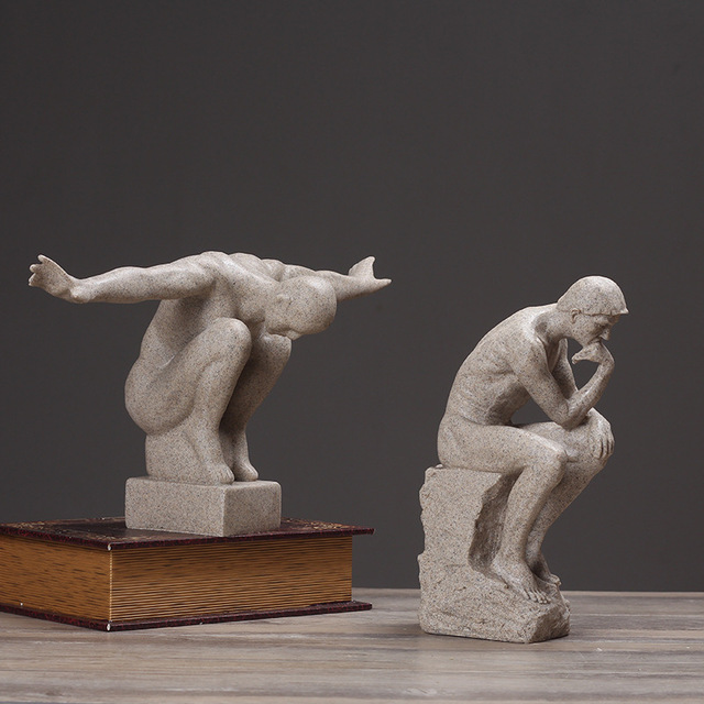 european style retro abstraction auguste rodin the thinker resin