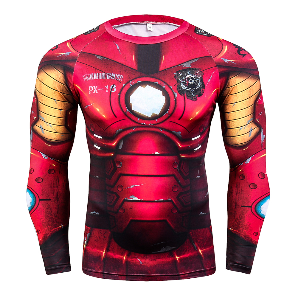 Long Sleeves T-shirt Mens Skin Tights Rashguard Complete 3D Printing Compression Shirts Multi-use Fitness MMA Body Building Tops