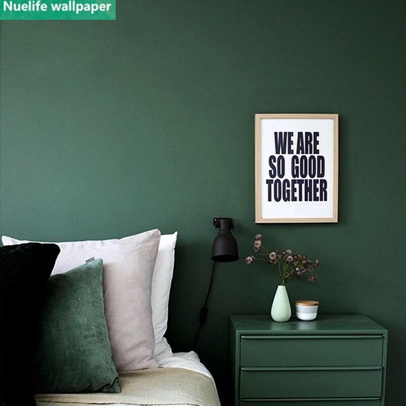 US $35.11 12% OFF Vintage wallpaper dark green living room bedroom solid  color wedding room shop restaurant TV background thickening wallpaper-in ...
