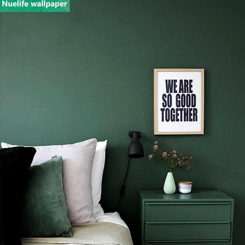 Vintage Wallpaper Dark Green Living Room Bedroom Solid Color