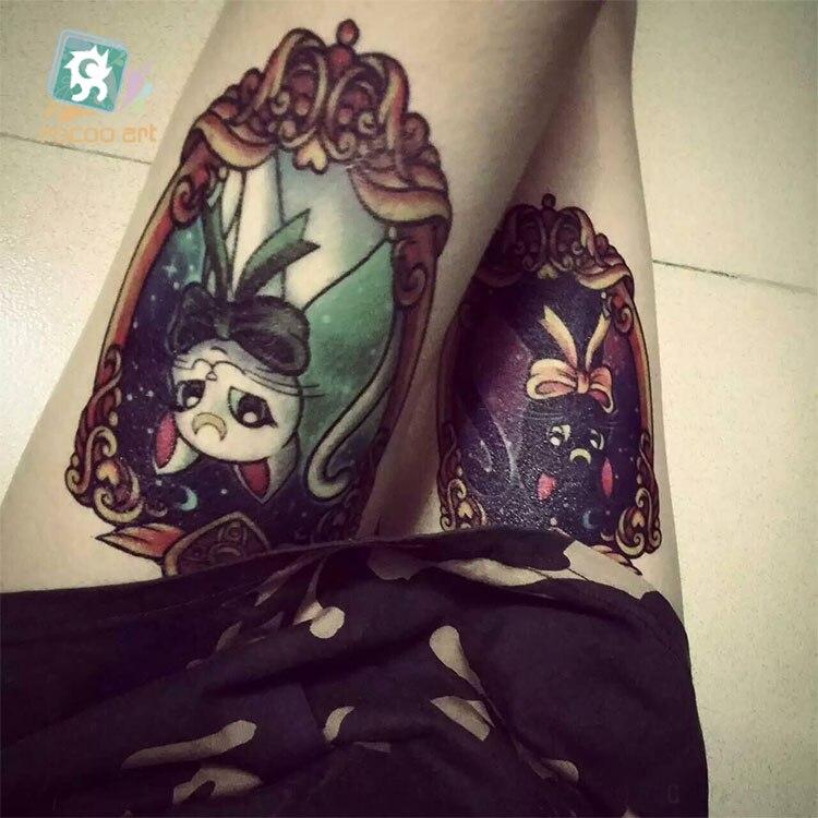 19X12cm Sailor moon HD Large Tattoo Sticker Body Art Smile Cat Kitty Temporary Tattoo Terrorist Stickers Flash Taty Tatoo