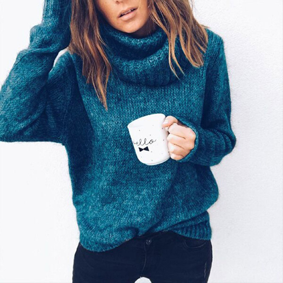 40049a51d9b Womens Sweaters 2018 Winter Tops Turtleneck Sweater Women Thin ...