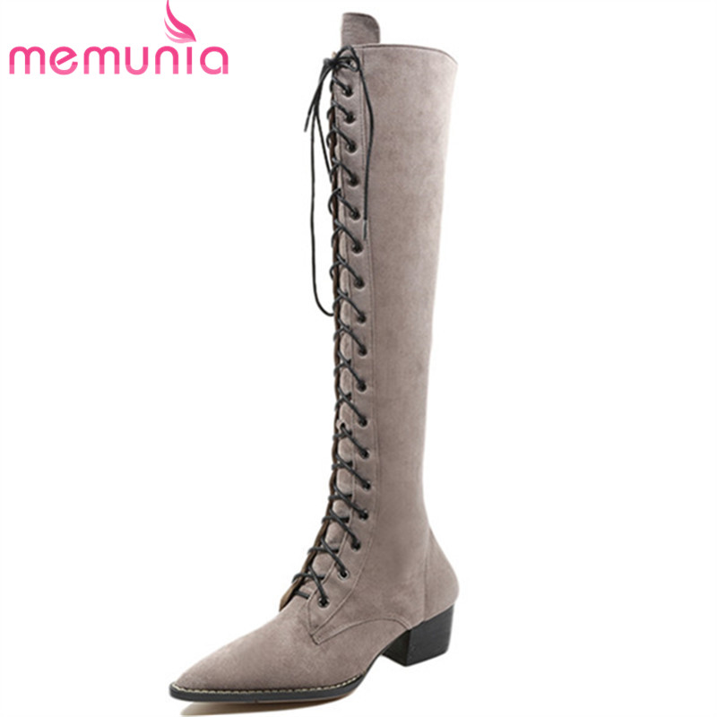 MEMUNIA 2018 new arrival knee high boots for women pointed toe suede leather boots zipper lace up autumn boots fashion shoes memunia 2018 new arrival knee high boots for women pointed toe suede leather boots zipper lace up autumn boots fashion shoes