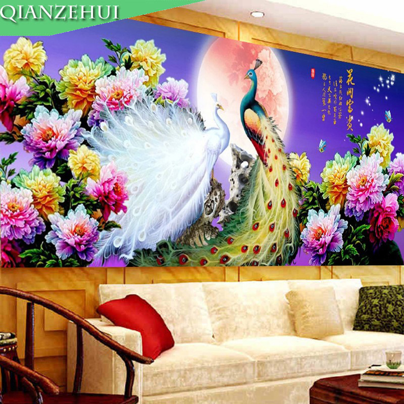 QIANZEHUI,Needlework,Peacock Peony Blooming Elixir Of Love Cross Stitch, Full Embroidered Landscape Cross-stitch ,Wall Decro