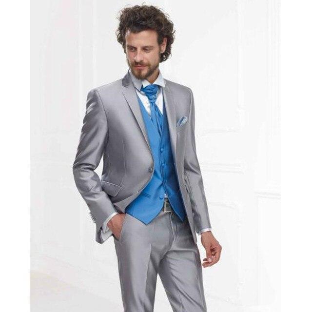 Nach Maß Neue Stil Silber Grau Satin Formale Männer Anzug Slim Fit ...