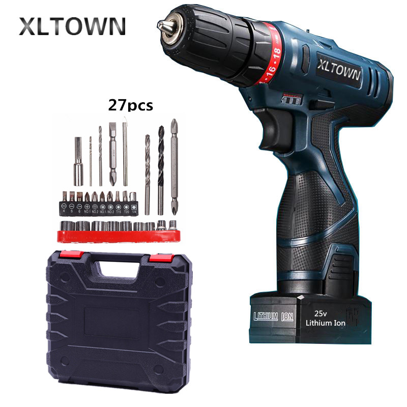 Xltown 25v rechargeable lithium battery electric screwdriver with a Plastic box packaging with 27pcs electric drill power tool xltown 25v 2000ma impact drill with bits