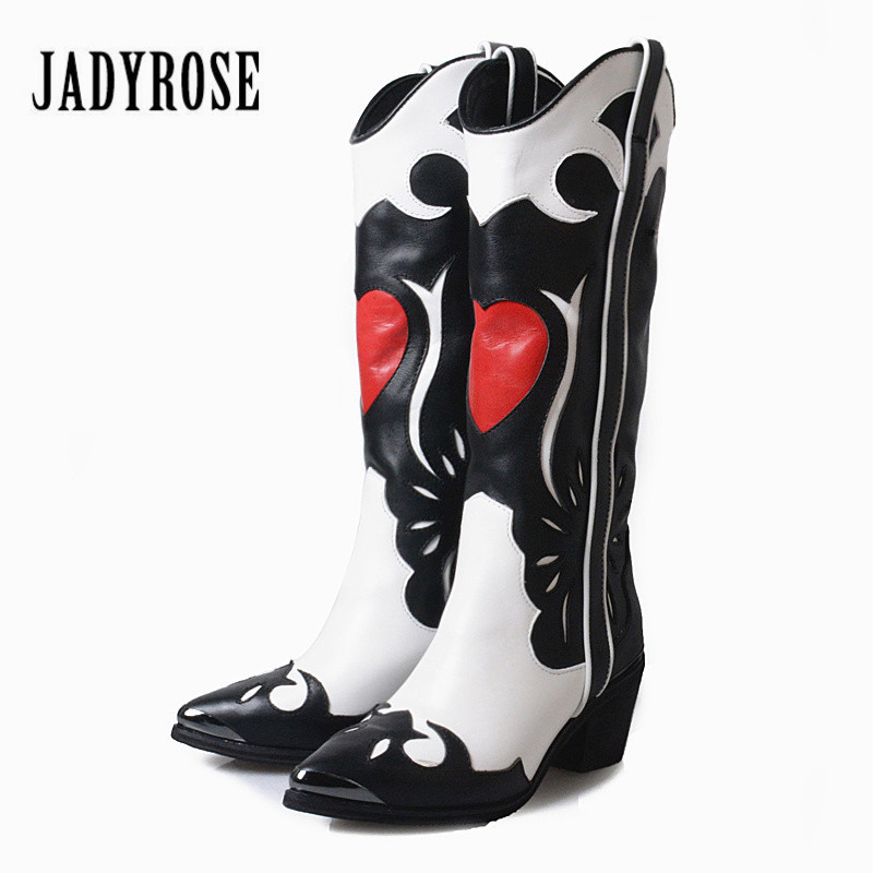 Jady Rose Patchwork Women Knee High Boots Slip On Vinatge Martin Boot Women Autumn Winter High Boots High Heel Rubber Shoes jady rose vintage black women knee high boots lace up side zip platform high boots thick heel flat martin boot for autumn winter