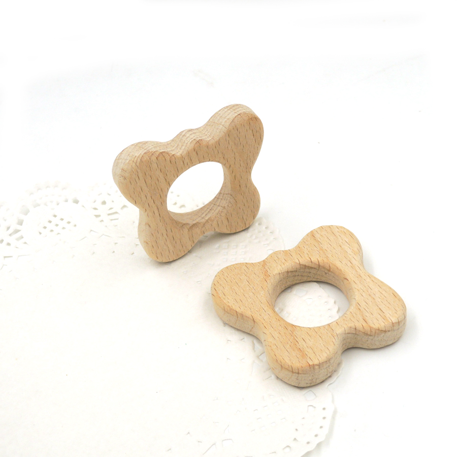 20 pcs cute wooden cute teddy bear ear baby teether nursing necklace charm educational gift safe smooth safe shower gift