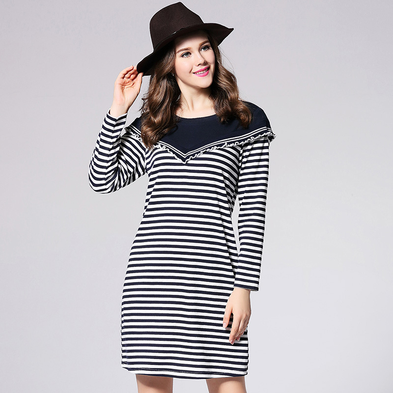 2018 plus size women striped knitted dress fashion new design women brief strip sping autumn dresses big size  XL-5XL plus size double pockets knitted dress