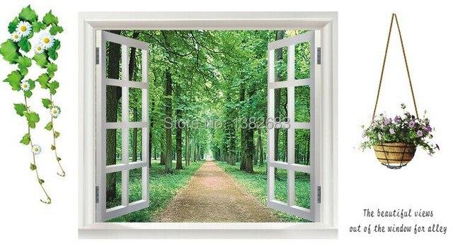 Free Shipping Green Fake Window Tree Flowers Figure Alameda Wall Stickers  Living Room 60*90CM