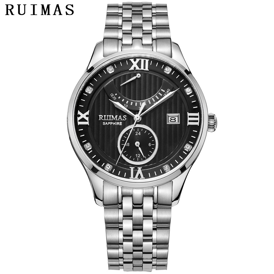 RUIMAS Reloj Hombre 2018 hommes classique de luxe automatique montre mécanique miborough 9132 hommes d'affaires montres affichage de réserve de marche