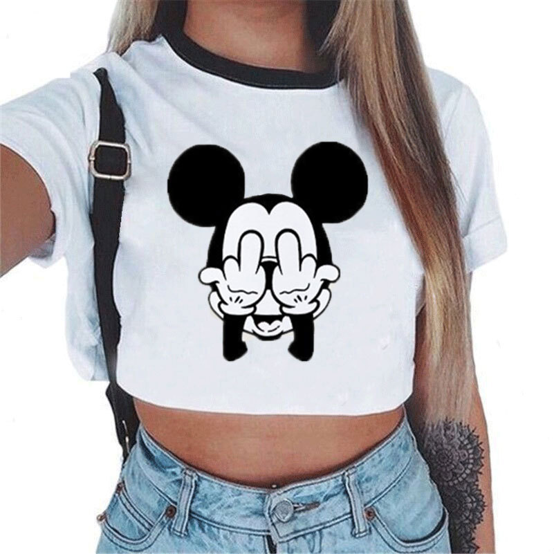 Waidx Women's Cropped T-shirt Mickey Crop <font><b>Top</b></font> Letters Tight Kitty T <font><b>Sexy</b></font> Nothing Shirt Kawaii <font><b>Harajuku</b></font> Streetwear Drop Shipping image