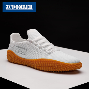 ff3d2de1 ZCDOMLER 2019 zapatos de malla de verano Casual transpirables zapatos planos  blancos hombres zapatillas rojo Tenis