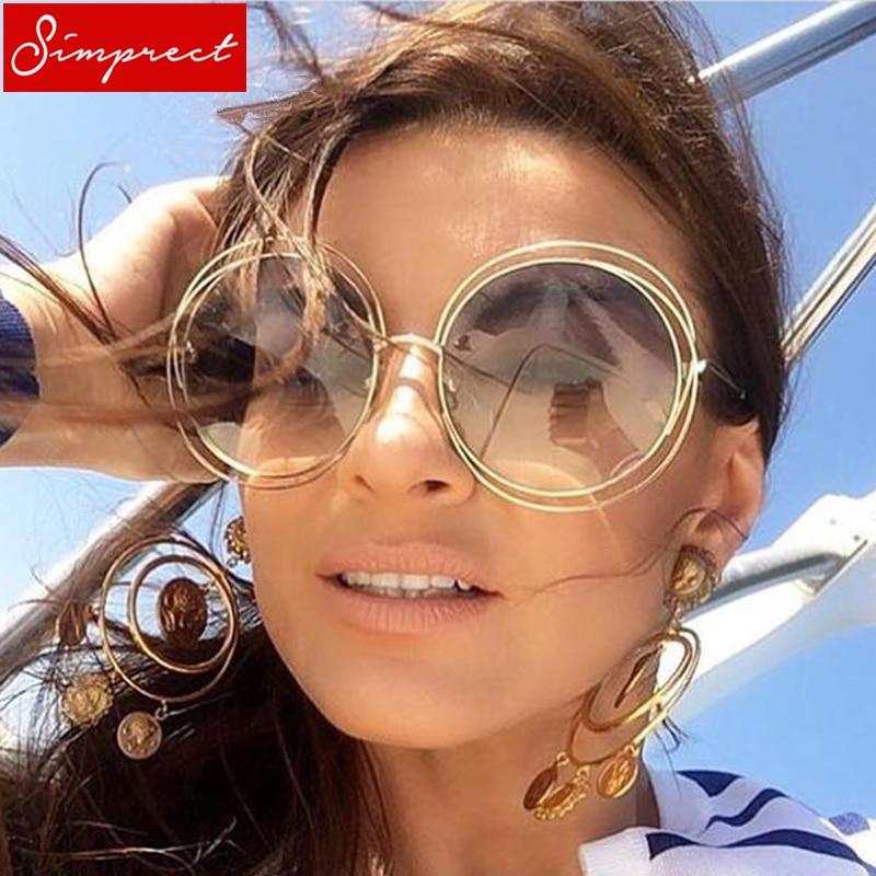 f78bdc07df SIMPRECT Oversized Round Sunglasses Women 2019 Retro Mirror UV400 Sun  Glasses Brand Designer Vintage Lunette De Soleil Femme