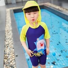 New Models 1-8 Y old Boys Rash Guards one piece Swimwear Shark print children Swimming short sleeve bathing suit  swim wear cap