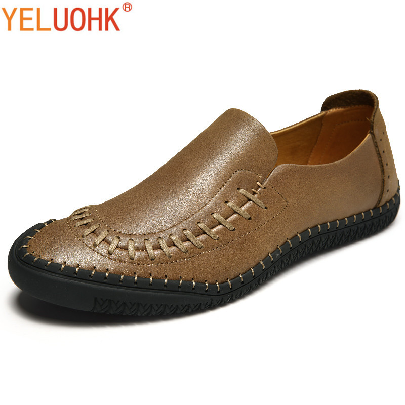 Genuine Leather Men Shoes Casual Handmade Leather Shoes Men Loafers High Quality Moccasins Men Slip On dxkzmcm new men flats cow genuine leather slip on casual shoes men loafers moccasins sapatos men oxfords