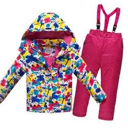 OLEKID-30 Grad Russland Winter Kinder Jungen Kleidung Set Dicke Warme Wasserdichte Winddicht Jacke Mantel + Overalls Mädchen Ski anzug