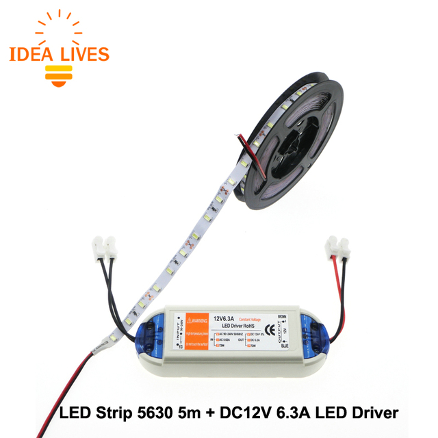 LED Strip 5630 5m + DC12V 6.3A LED Driver Flexible LED Light Sets.