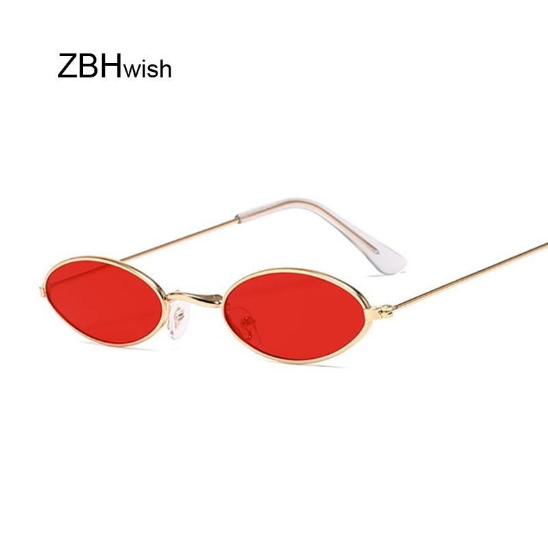 Retro Small Oval Sunglasses Women Vintage Brand Shades Black Red Metal Color Sun Glasses For Female Fashion Designer Lunette
