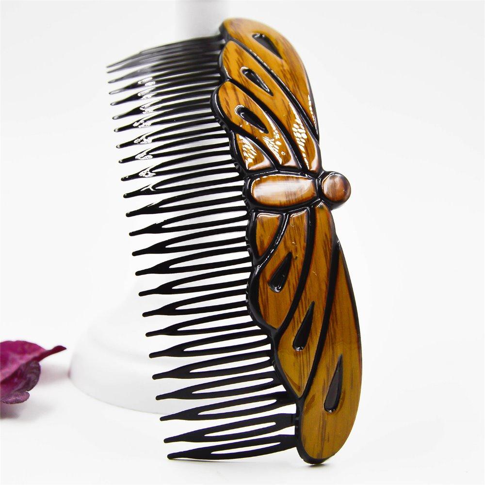 Fancyin Butterfly And Star Hair Comb 12cm Hair Clip For Women And Girls Wooden And Plastic Hair Accessories