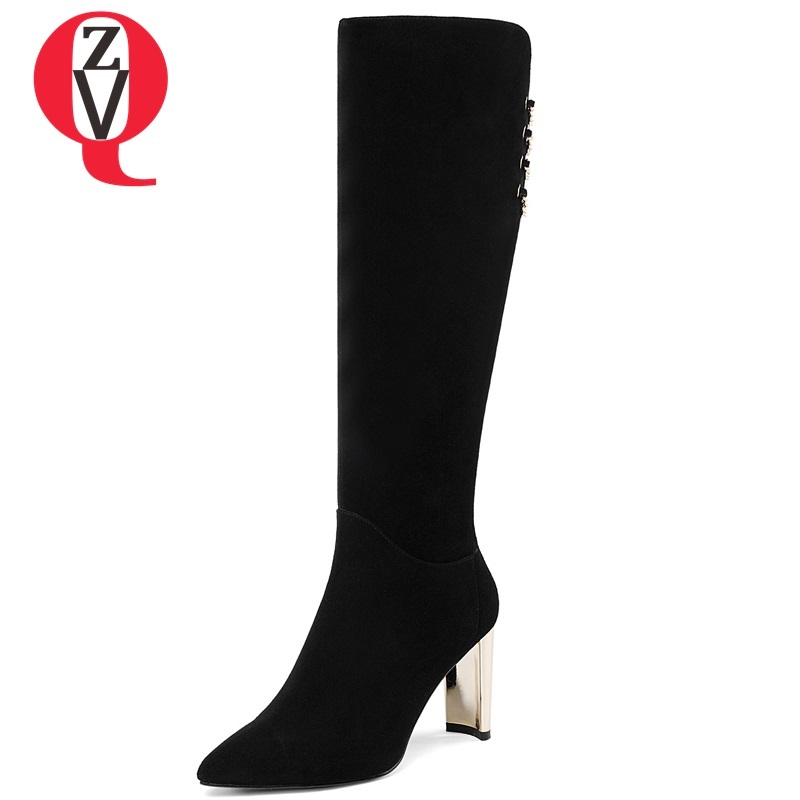 ZVQ women shoes winter newest fashion kid suede super high strange style zip pointed toe metal decoration party knee high boots zvq 2018 new popular kid suede embroider women shoes super high square heel pointed toe zip black winter warm over knee boots