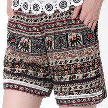 VIIANLES Summer Sorts Wmen Boho High waist shorts female mini Bohemian bottom 2019 Elephant Printed Plus Size Shorts XXXL