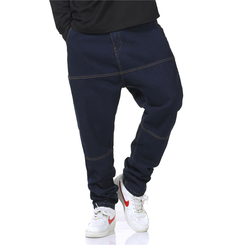 2017 New Spring Autumn Mens Loose Harem Pants Brand Denim Jeans Stretch Blue Cargo Pants Casual Trousers Plus Size 30-46  mens casual blue jeans denim multi pocket loose outdoor straight legs cargo pants
