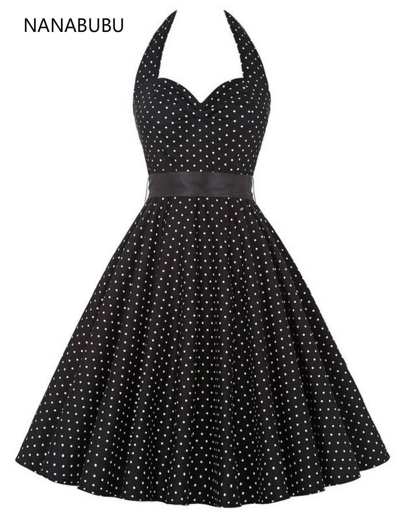20a33a318dc Woman Dress 2018 Summer Halter Vintage Red Black Polka Dot Dress Retro  Cocktail Party 50s 60s Rockabilly Bandage Swing Dresses