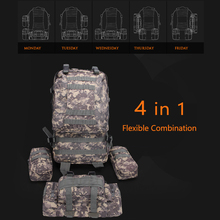 4 in 1 Outdoor Travel Mountaineering Bag Waterproof Backpack Molle Climbing Hiking Road Rucksack Flexible Combination Set
