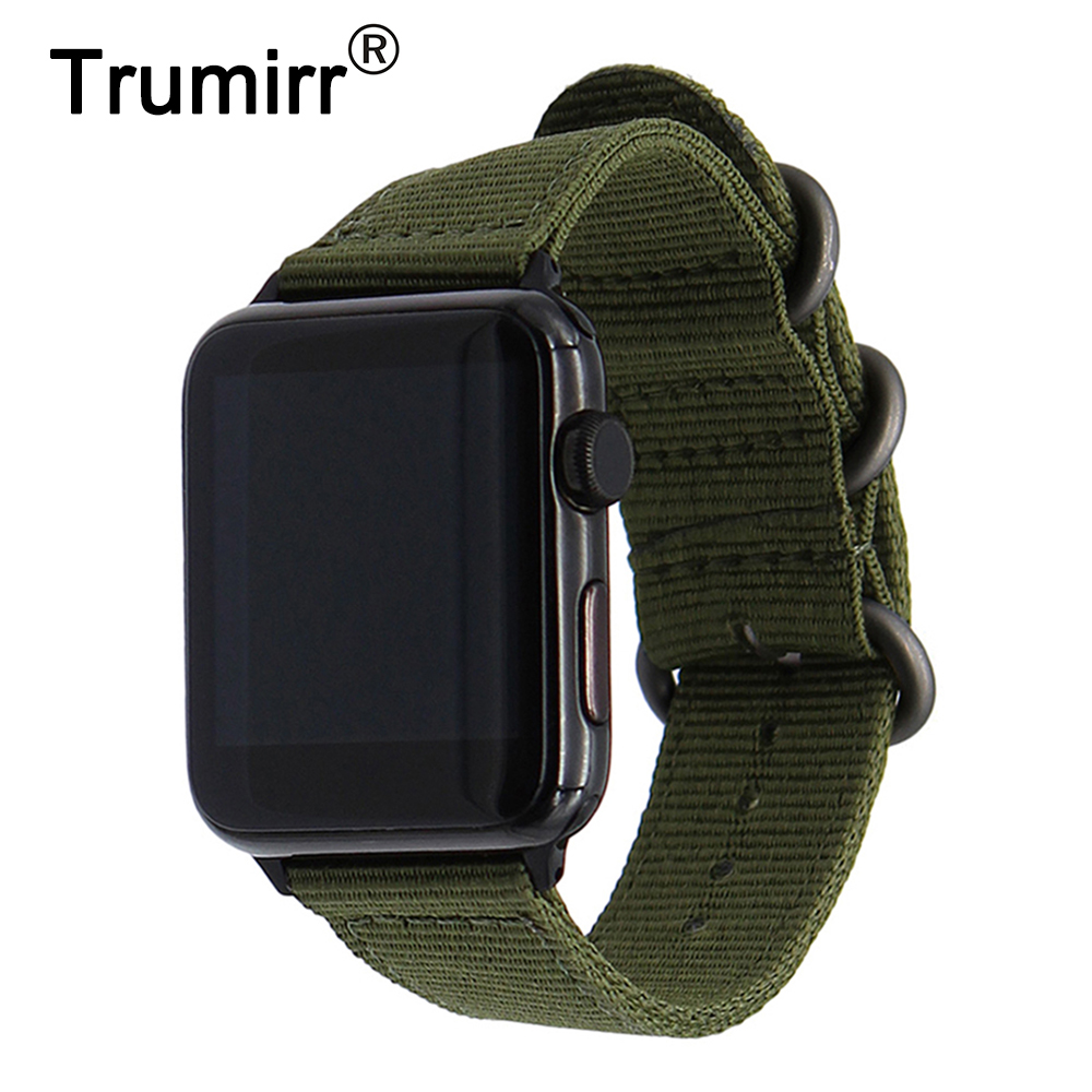Nylon Watchband + New Adapters for 38mm 42mm iWatch Apple Watch Band Zulu Fabric Strap Sstainless Steel Buckle Wrist Bracelet survival nylon bracelet brown
