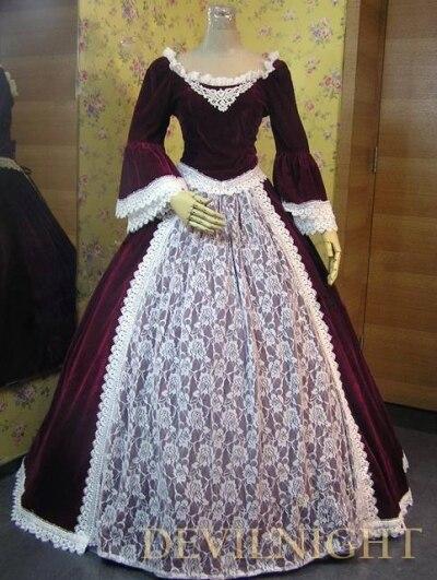 Robes de bal victoriennes en dentelle de velours rouge vin