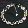 ZHHIRY Natural Tourmaline Gems Bracelet Natural Stone Genuine 925 Sterling Silver Woman Jewelry
