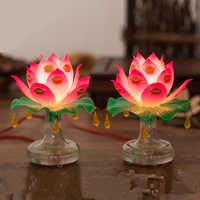 Предметы буддизма, лампа в виде Святого лотоса, утонченная, Veilleuse, торжественная буддистская церемония, лампа для поклонения Будде, буддистс...