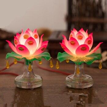 Phật giáo Cung Cấp Thánh Đèn Hoa Sen Tinh Tế Veilleuse Long Trọng Phật Giáo Lễ Thờ Phượng Đèn Phật Chùa Phật Giáo Trang Trí